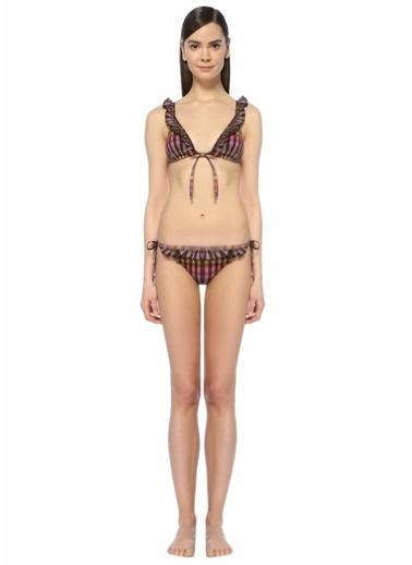 La Mer Ekoseli Fırfırlı Bikini Takım Renkli